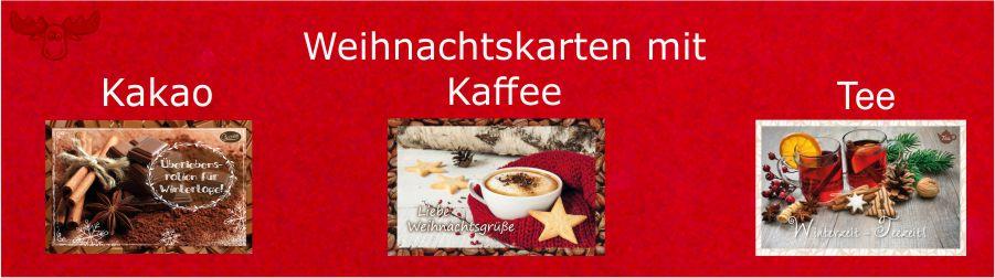Gefüllte Weihnachtskarten mit Tee, Kaffee oder Kakao
